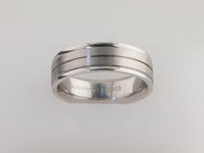 White Gold Wedding Band Men's Brushed with High Polish Center